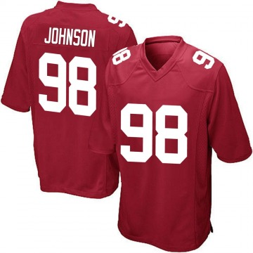 Youth Austin Johnson New York Giants Game Red Alternate Jersey